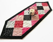 """Valentine's Day Quilted Table Runner - 14"""" x 41"""" - Ever After Table Runner - Valentine Decor - Valentines Patchwork Table Runner"""