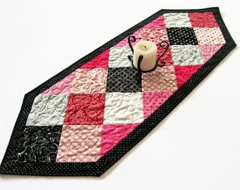 "Valentine's Day Quilted Table Runner - 14"" x 41"" - Ever After Table Runner - Valentine Decor - Valentines Patchwork Table Runner"