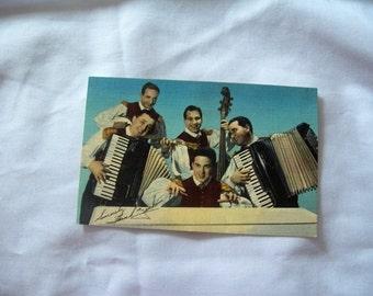 Rare signed Frankie Yankovic linen postcard