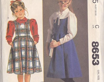 Girls Jumper & Blouse  Pattern ~ Mc Call's 8653 Size 10 ~ Laura Ashley ~ Scoop Neck Gathered Skirt ~ Easy Sew ~ Cap Sleeves Cut But Complete