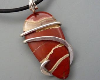 Sterling Silver Wrapped Red Jasper Pendant Necklace, Cold Forged Pendant, Wrapped Pendant, Wire Wrap Pendant Necklace, wire wrapped jewelry