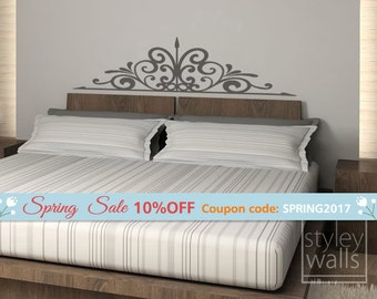 Swirly Bed Headboard Wall Decal for Bedroom Decor, Swirling Bed Headboard Vinyl Wall Decal, Bed Headboard Wall Sticker