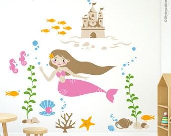 Mermaid Wall Decal, Mermaid Nursery Sticker, Sea Castle Wall Decal, Underwater Wall Decal, Ocean Wall Decal, Fishes Wall Decal Nursery Decor
