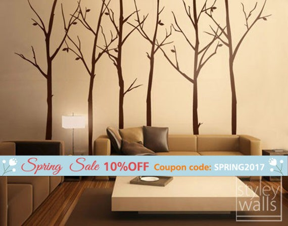 Tree Wall Decal, Forest Winter Trees Wall Decal Stickers Set of 6 Vinyl Wall Decal Home Decor Room Decor Office Living Room Wall Decal