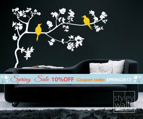 Branch and Birds Wall Decal, Birds on Branch with Leaves Vinyl Wall Decal, Branch Wall Sticker for Home Decor, Branch Wall Decal
