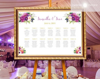 Wedding Seating Plan, Wedding Seating Chart, Wedding Seating, Purple Seating Chart, Floral Seating Chart, Printable, jadorepaperie