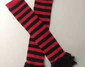 Red stripes, black stripes and ruffles leg warmers  for babies and toddlers