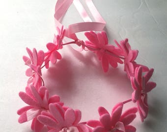 Pink felt flowers headband