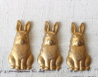 Vintage Brass Stampings - Brass Bunny Rabbit Stamping - Brass Stampings - Jewelry Making - Brass Findings - Scrapbooking  (4 pieces) ~27mm