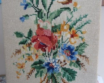 Vintage Needlepoint Colorful Flowers Burlap Style Background Floral Embroidery