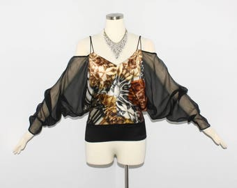 Vintage Jean Paul GAULTIER FEMME Off the Shoulder Blouse Silk Chiffon Shirt