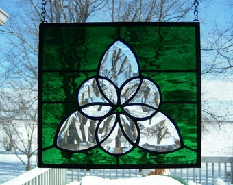 Stained Glass Celtic Knot Triangle  Bevel Cluster Window Panel Suncatcher
