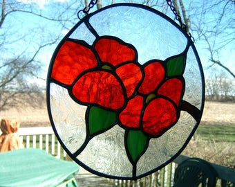 Stained Glass Round Flower Panel Sun Catcher Window Hanging