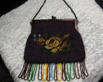 Victorian Beaded Purse, Vintage 1910's, Flapper Purse, Evening Bag, Handbag, Purse with Fringe, Burgandy, Yellow Rose