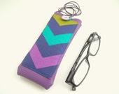 Geometric chevron eyeglass case with lanyard, purple faux leather neck glasses holder with pocket, reading eyeglasses case