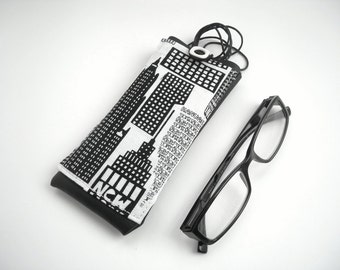 New York city eyeglass case, lanyard eyewear holder, black white glasses case, faux leather neck eyeglasses case with pocket