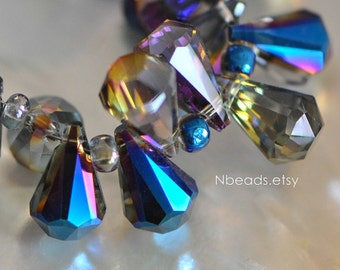 95pcs Unique Teardrop Crystal Glass Faceted Beads 15x9mm, Sparkly Metallic Blue (TS74-3)