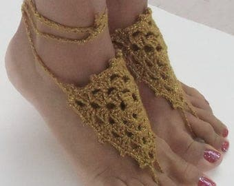 Crochet Barefoot Sandals, Beach Wedding, Bridal Barefoot, Bridesmaid, Poolside Barefoot Sandals, Golden Barefoot Sandals