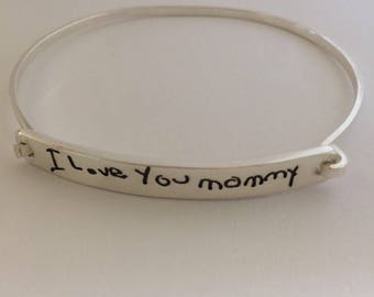 Mother's Day Message Bracelet - Handwriting Message - Ultra Thin Silver Tension Bracelet - Made to Order