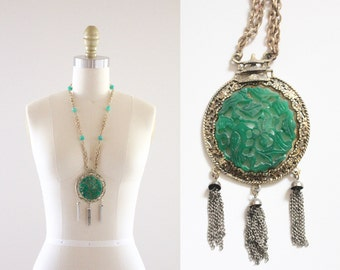 S A L E 1960s jade style large medallion necklace