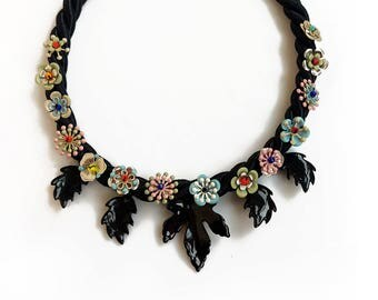 Black Statement Necklace, Rope Statement Necklace, Flowers and Leaves Necklace, Glam Bib Necklace
