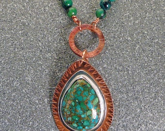 Convertible turquoise, copper and silver necklace - Handmade - Mixed Metal - Southwestern