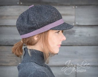 Wool Newsboy Hat Winter Gray and Purple Cap - Sample Sale