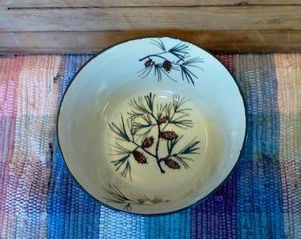 Medium sized handmade ceramic bowl - 26 oz bowl - Handmade pottery serving bowl - Rustic Pottery Bowl - Pinecone design - 1742