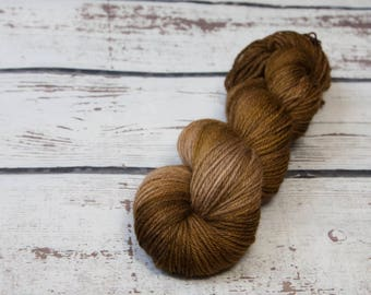 Mystery Semi Solid Skein - Hand dyed DK yarn, merino, Brown, light worsted, tan beige, one of a kind