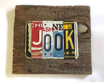 JOOK juke joint license plate sign tomboyART art recycled upcycled pig BBQ Mississippi blues