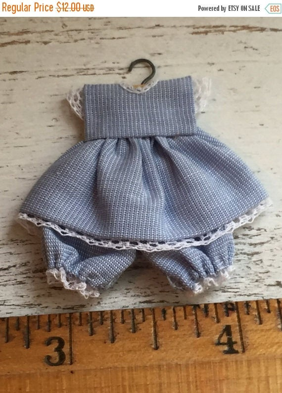 SALE Miniature Blue Baby Dress and Bloomers on Hanger with White Lace Trim, Dollhouse Miniature, 1:12 Scale, Dollhouse Accessories, Nursery,