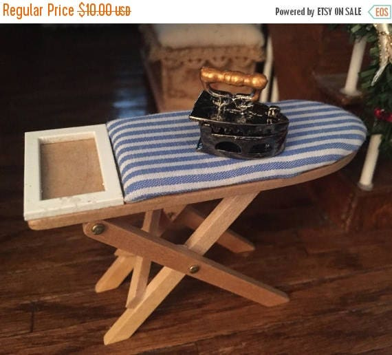 SALE Miniature Wood Ironing Board & Old Fashioned Open Iron, Dollhouse Miniature, 1:12 Scale, Fabric Covered Board With Iron, Dollhouse Acce