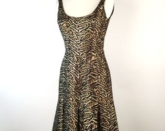 Vintage 60s Metallic Animal Print Dress, Mollie Parnis, Tiger Stripe, Black, Gold, Silver, Lurex, Sleeveless, Scoop Neck, Fit & Flare, VLV