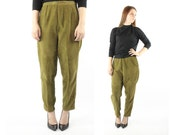 RESERVED Please Do Not Buy Vintage 50's 60's Cigarette Pants High Waisted Olive Corduroy Trousers 1950s 1960s Medium M Rockabilly Pinup