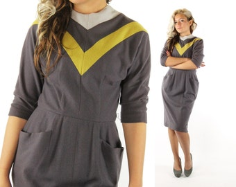 Vintage 50s Dress Gray Wool Knit Chevron Striped Half Sleeve Fall Fashion Rockabilly Pinup 1950s Medium M