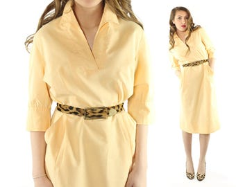 Vintage 50s Day Dress Buttercream Yellow Cotton Shirtwaist Half Sleeves Collared Big Pockets 1950s Large L Betty Hartford