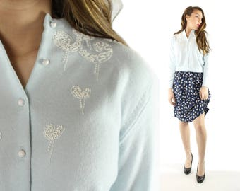 Vintage 50s Beaded Cardigan Sweater Baby Light Blue Paisley 1950s Large L Pinup Rockabilly Button Up