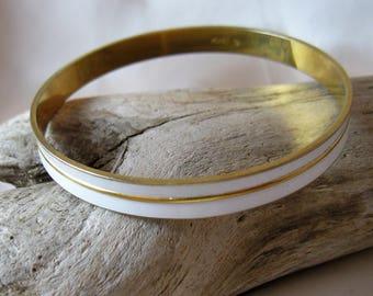 "Vintage Monet White Enamel on Goldtone Bangle Bracelet, 2 5/8"""