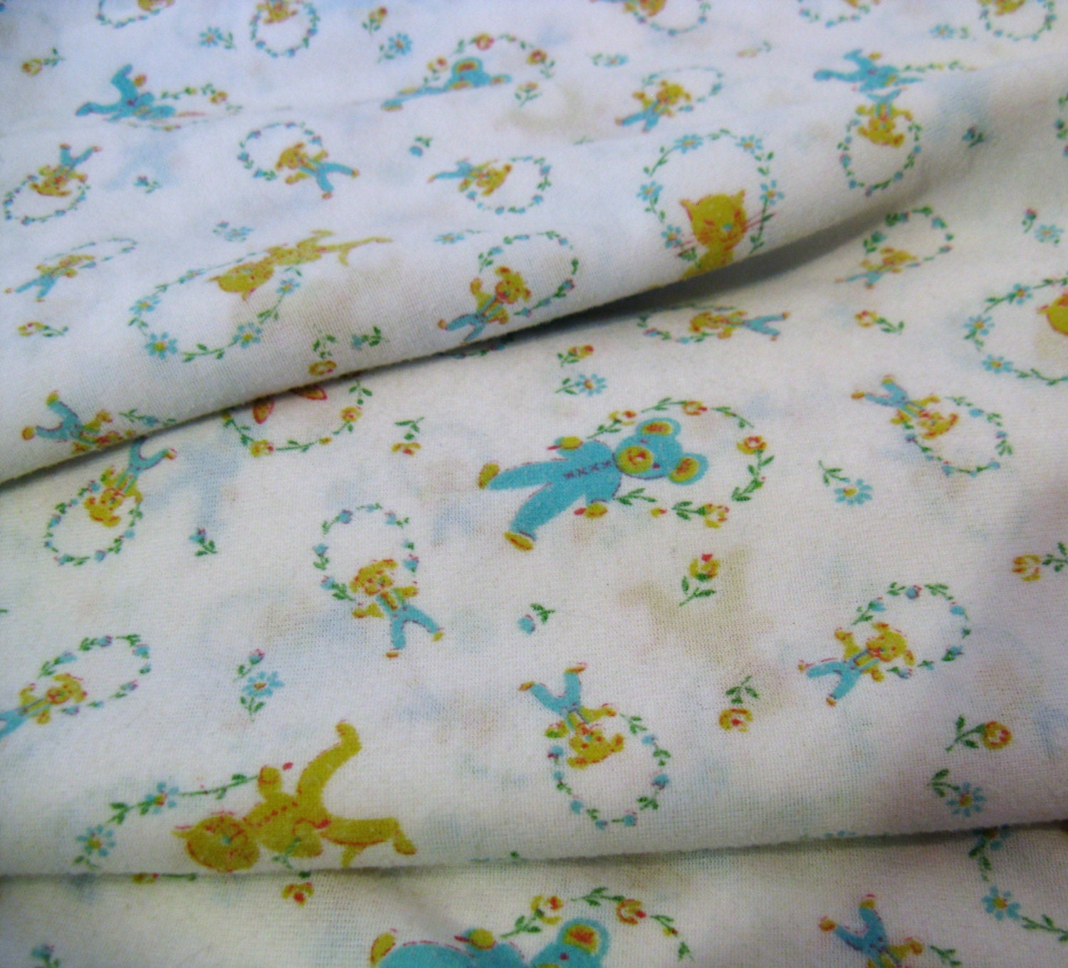 Vintage 60s soft knit baby fabric kittens bunnies for Retro baby fabric