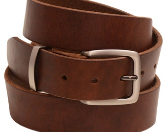 """Men's 1 3/8"""" Plain Dress Or casual Belt Retanned Walnut Leather Natural Edge Square Buckle And Loop Set Matte Nickel finish Made In America"""