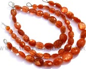 sunstone oval beads Sunstone Faceted Oval (Quality AA) / 5.5x7 to 9.5x12 mm / 18 cm / SU-045