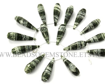 Green Zebra Jasper Faceted Drops (Quality AA+) / 7.5x24 to 9x30 mm / 18 cm / GREE-008