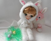 FOOTED PAJAMAS or Hooded Bunny Costume Easter PJ's for Blythe or playsuit