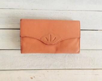 Vintage coral pink leather wallet, credit card holder,  checkbook, coin purse, princess gardner