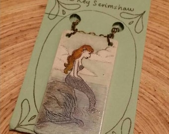 Scrimshaw Necklace Intricate Mermaid Design OOAK Great Gift Idea