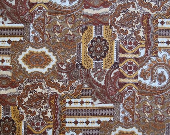"1960s Vintage Fabric - Brown Paisley Home Decor - 2 3/5 yds x 33"" wide by Pattern Rights, Inc"