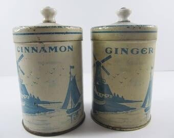 Antique Spice Tins With Porcelain Knobs Cinnamon Ginger Dutch Scene