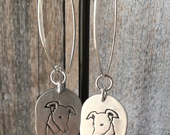 Greyhound Large Fine Silver Earrings Long Hook