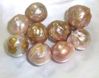 9 PCS, Kasumi Like Pondslime Mauve Pink Puprle, Bronze Gold Metallic Nucleated Bead Baroque Round Pearls, one pair, m2-1