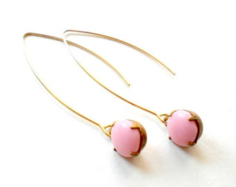 Pale Pink Earrings Gold Long Earrings Gold Pink Earrings Matt Gold Earrings Light Pink Earrings Pastel Pink Earrings Vintage Pink Glass